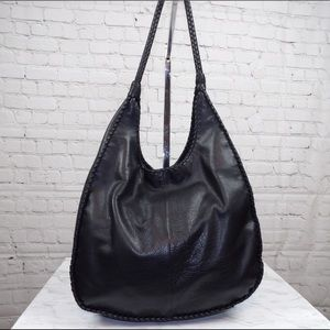 Margot large leather hobo with braided detail